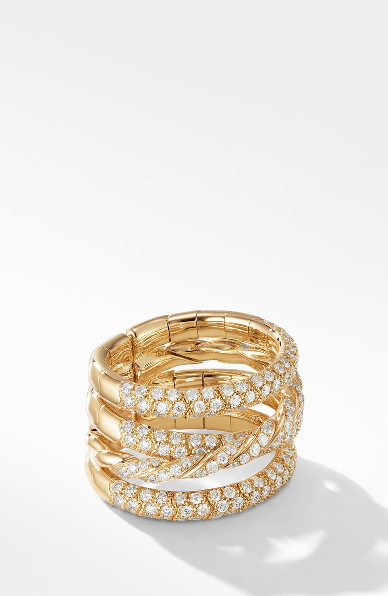 DAVID YURMAN Paveflex 4-Row 18K Yellow Gold Ring with Diamonds, Main, color, YELLOW GOLD/ DIAMOND