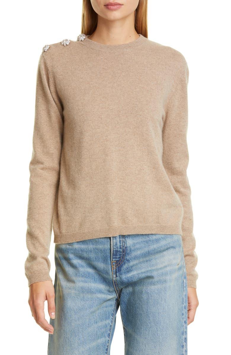GANNI Crystal Button Cashmere Sweater, Main, color, TANNIN