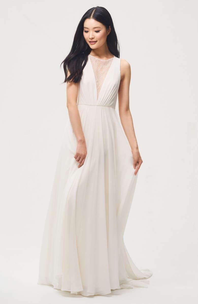 JENNY BY JENNY YOO Fallon Lace & Chiffon A-Line Gown, Main, color, IVORY