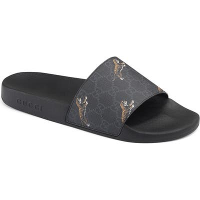 Gucci Tiger Print Slide Sandal, Black