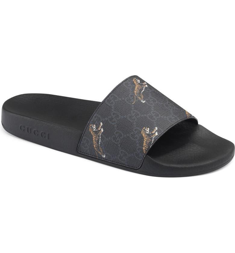 GUCCI Tiger Print Slide Sandal, Main, color, BLACK