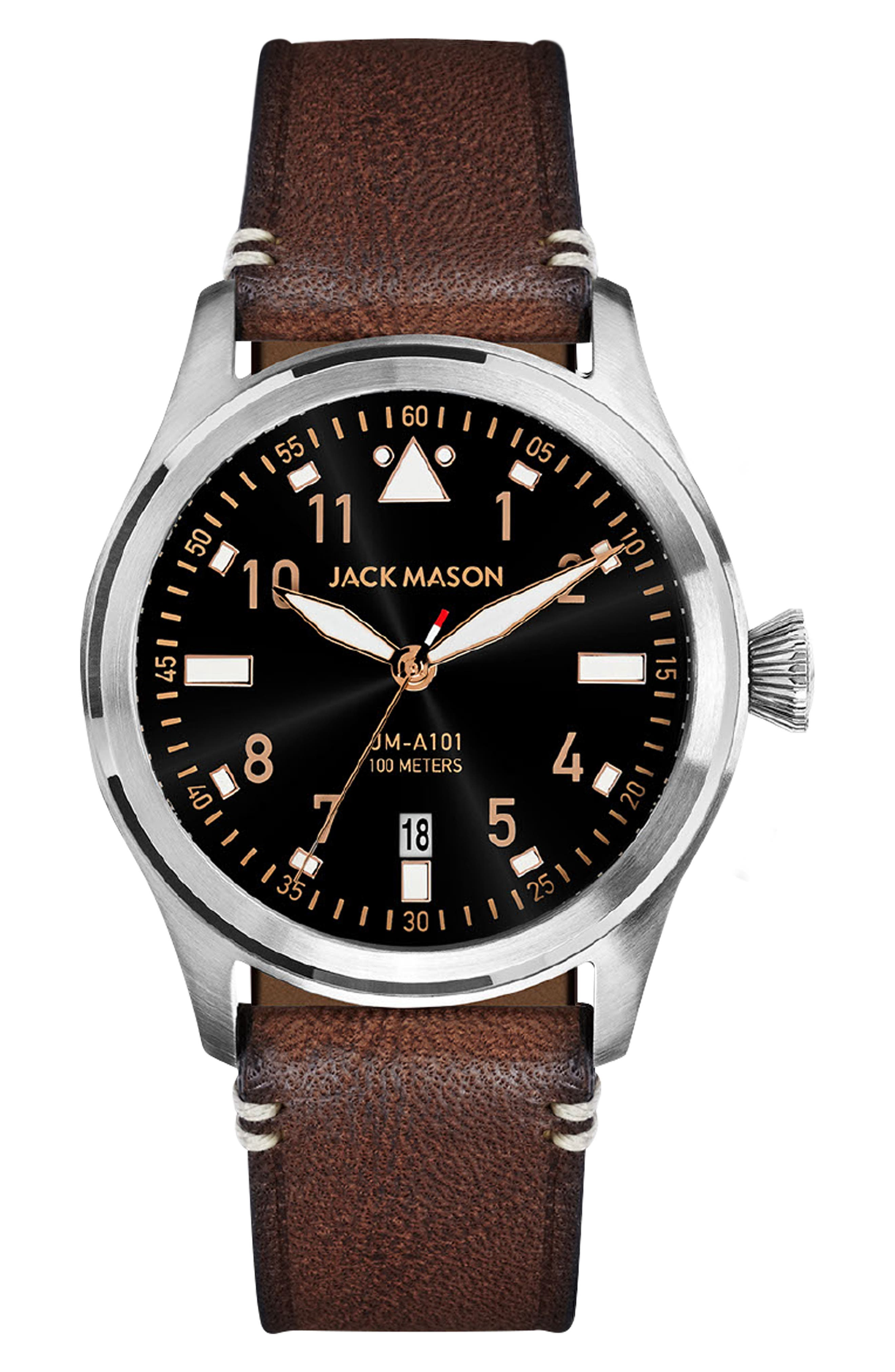 Aviation Leather Strap Watch, Main, color, BLACK