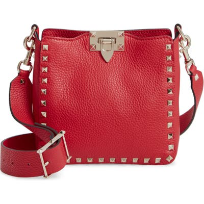 Valentino Garavani Rockstud Mini Hobo Crossbody Bag - Red