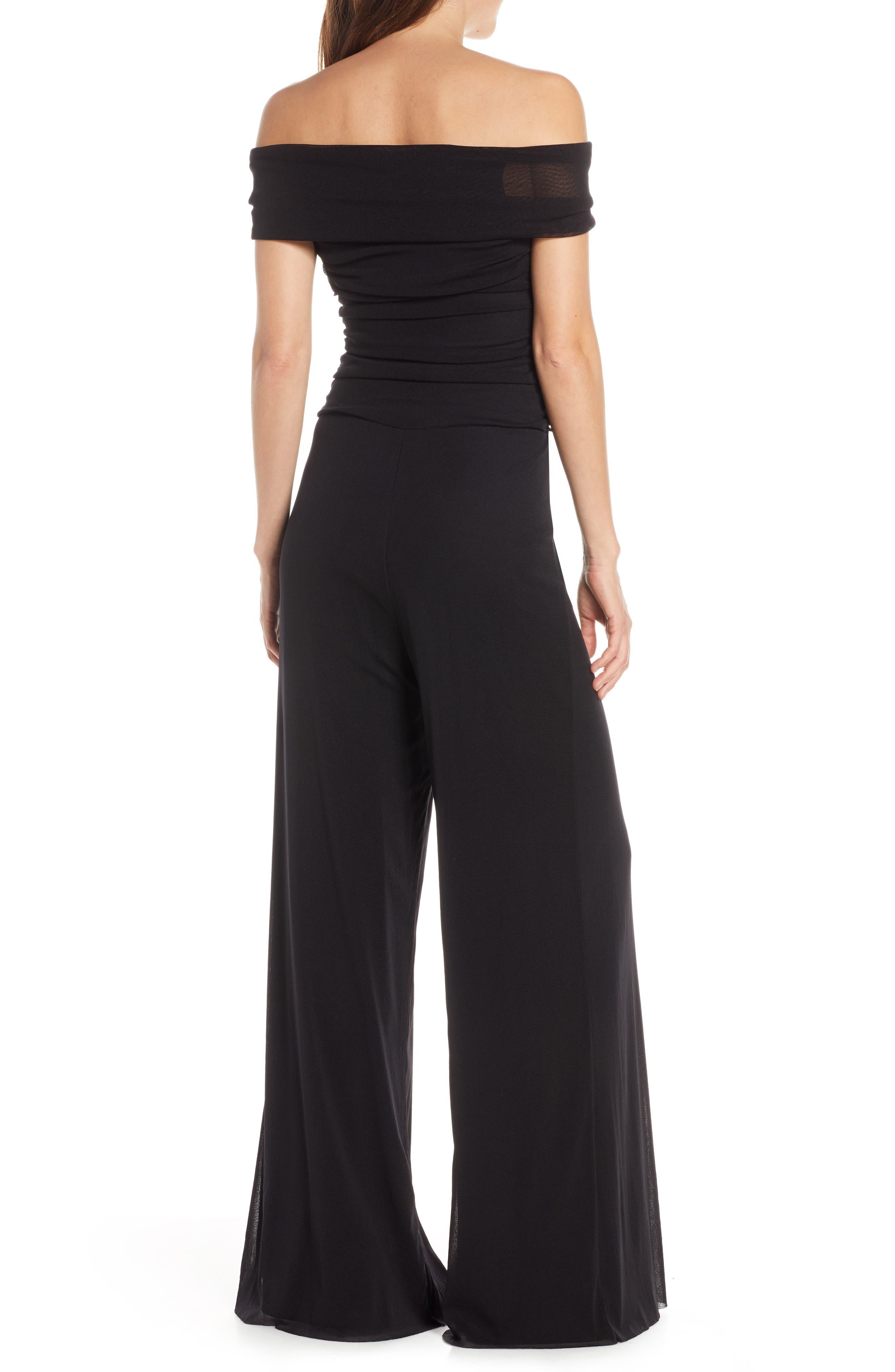 Eliza J Cold-Shoulder Womens Ruffled Jumpsuit Black 4
