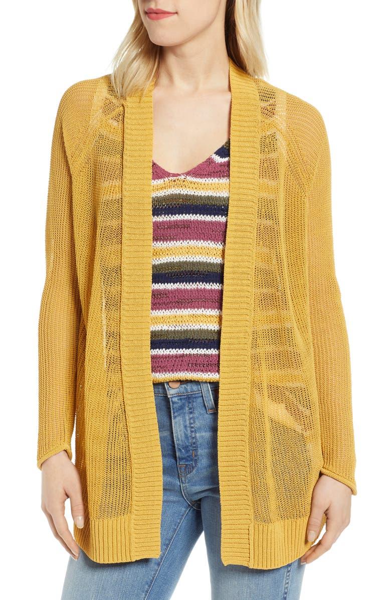 CASLON<SUP>®</SUP> Open Cotton Blend Cardigan, Main, color, YELLOW OCHRE