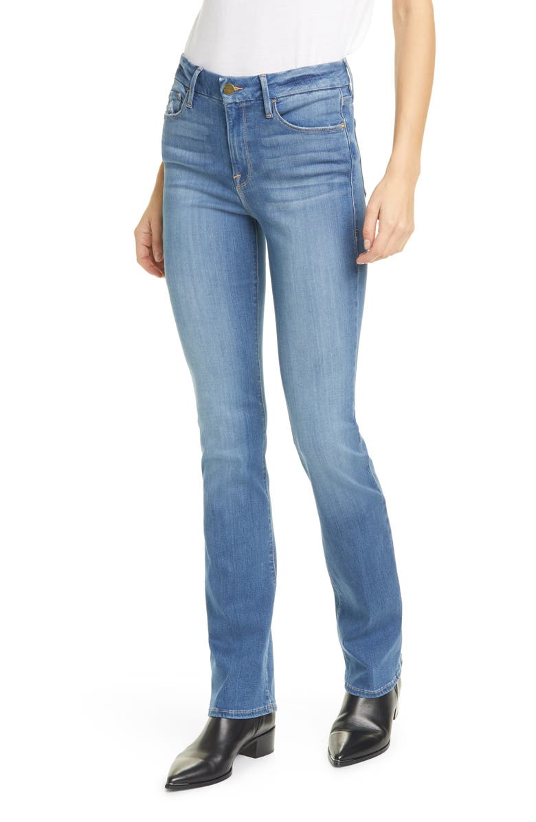 FRAME Le Mini High Waist Bootcut Jeans, Main, color, HILLVIEW