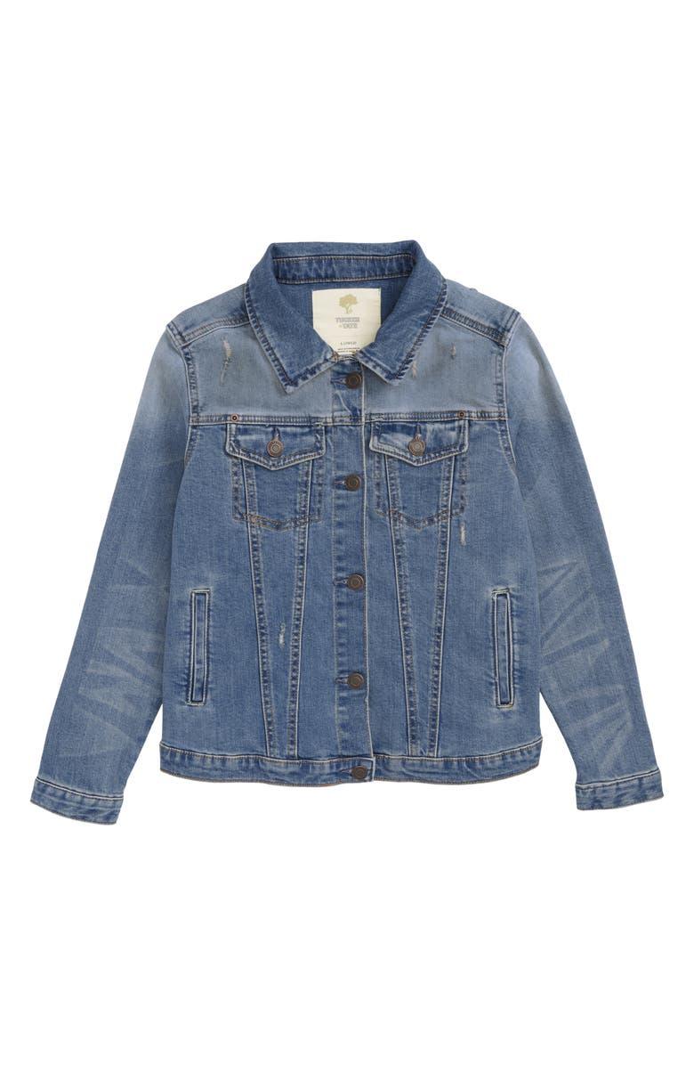 TUCKER + TATE Distressed Denim Boyfriend Jacket, Main, color, 420