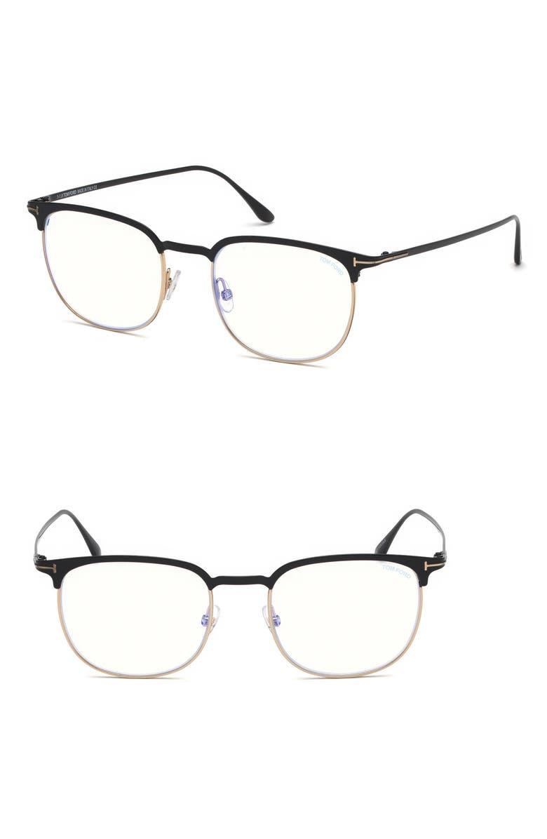 TOM FORD 52mm Blue Light Blocking Glasses, Main, color, BLACK/ BLUE BLOCK