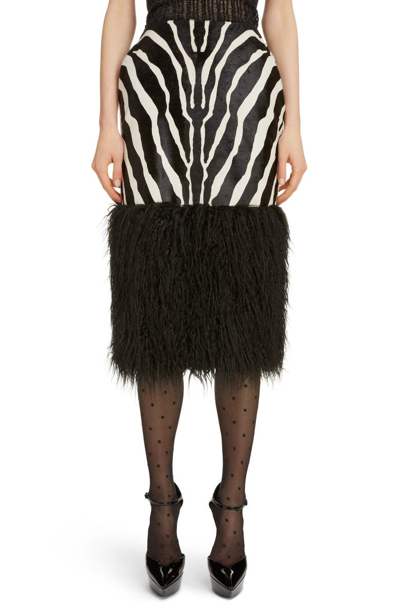 SAINT LAURENT Faux Shearling Hem Zebra Print Skirt, Main, color, NOIR/BLANC