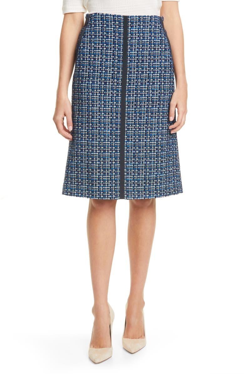 BOSS Varius Tweed Suit Skirt, Main, color, MIDNIGHT FANTASY