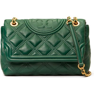 Tory Burch Fleming Soft Quilted Lambskin Leather Shoulder Bag - Green