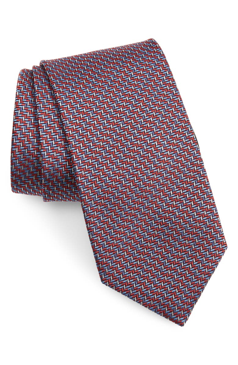BRIONI Geometric Silk Tie, Main, color, BORDEAUX/ BLUETTE