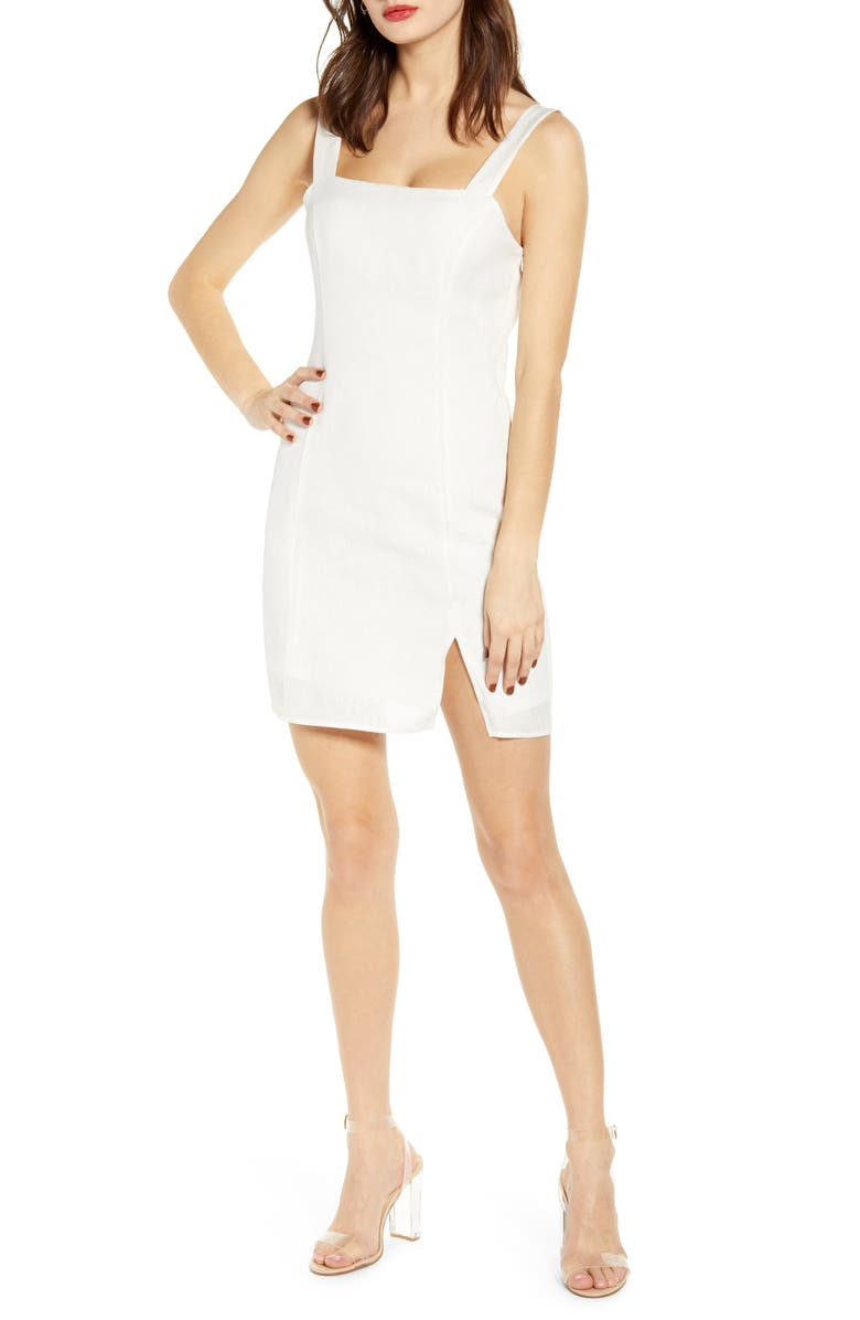LEITH Sleeveless Linen Minidress, Main, color, WHITE