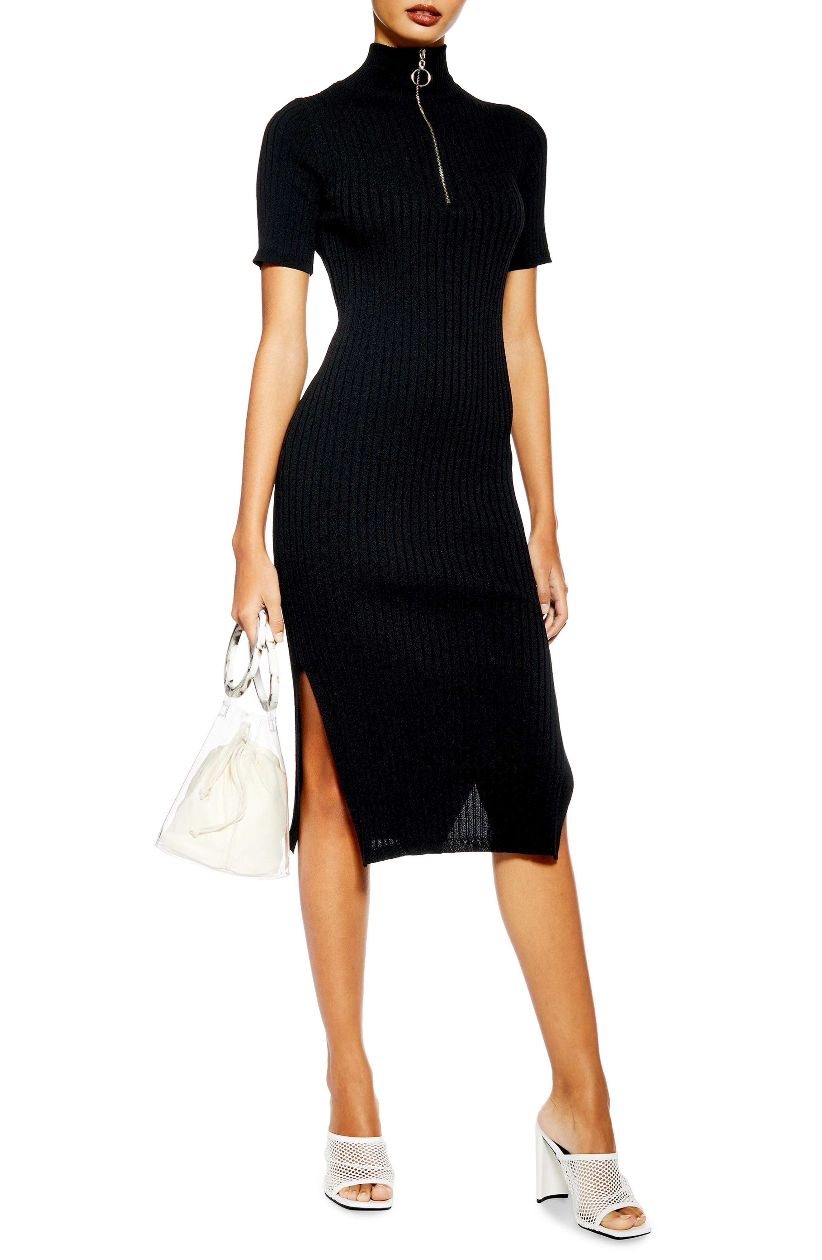Topshop Ribbed Zip-Up Sweater Dress, Black