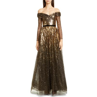 Marchesa Notte Off The Shoulder Long Sleeve Ombre Sequin Gown, Black