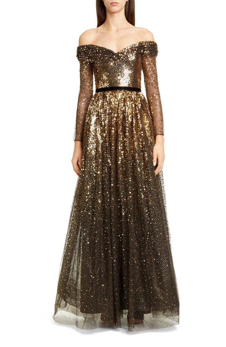 MARCHESA NOTTE Off the Shoulder Long Sleeve Ombré Sequin Gown, Main, color, BLACK/ GOLD