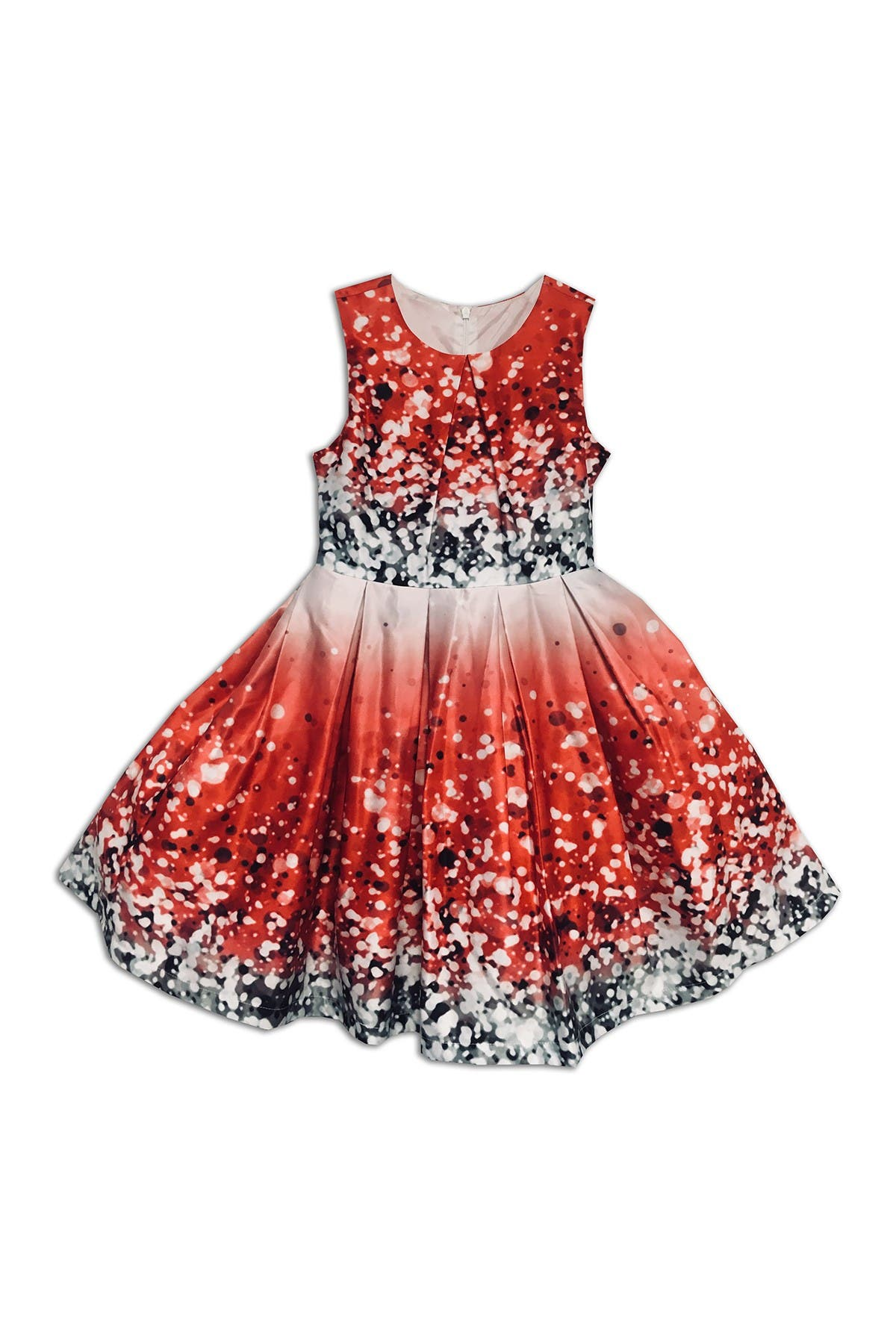 Image of Joe-Ella Pleated Twinkle Satin Print Dress