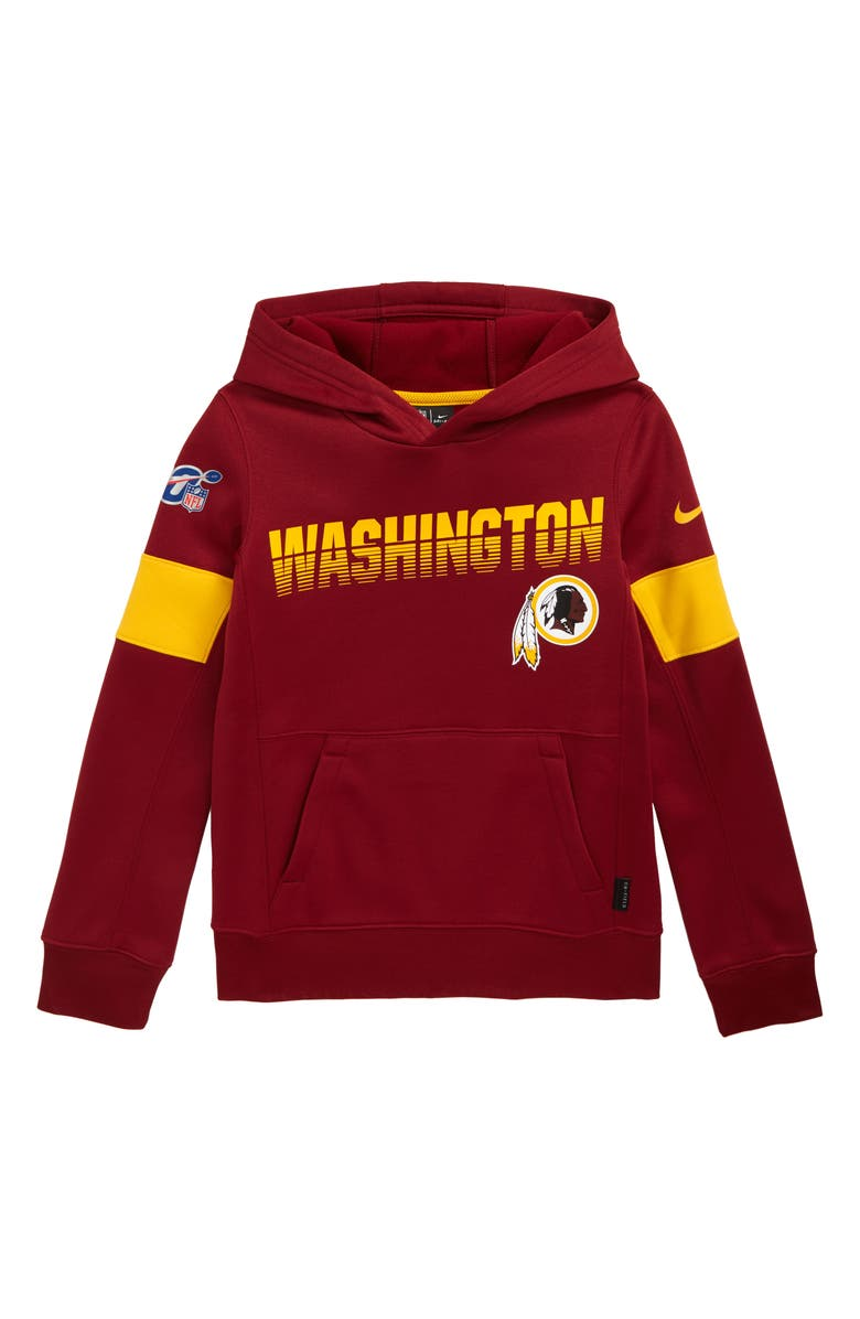 NIKE NFL Logo Washington DC NFL Team Therma Dri-FIT Hoodie, Main, color, TEAM RED