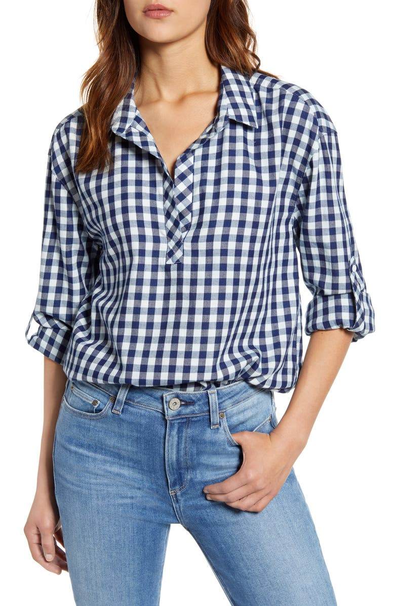 TOMMY BAHAMA Bonita Check Popover Top, Main, color, INDIGO