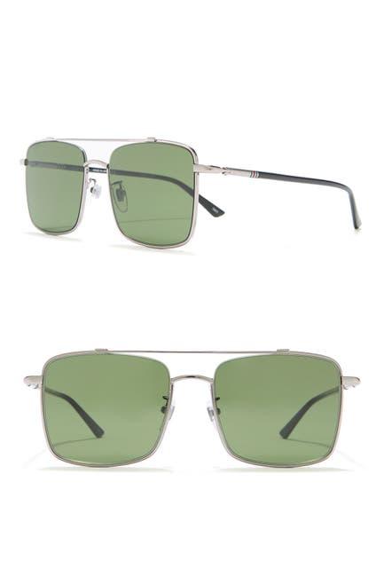 Image of GUCCI 56mm Square Aviator Sunglasses