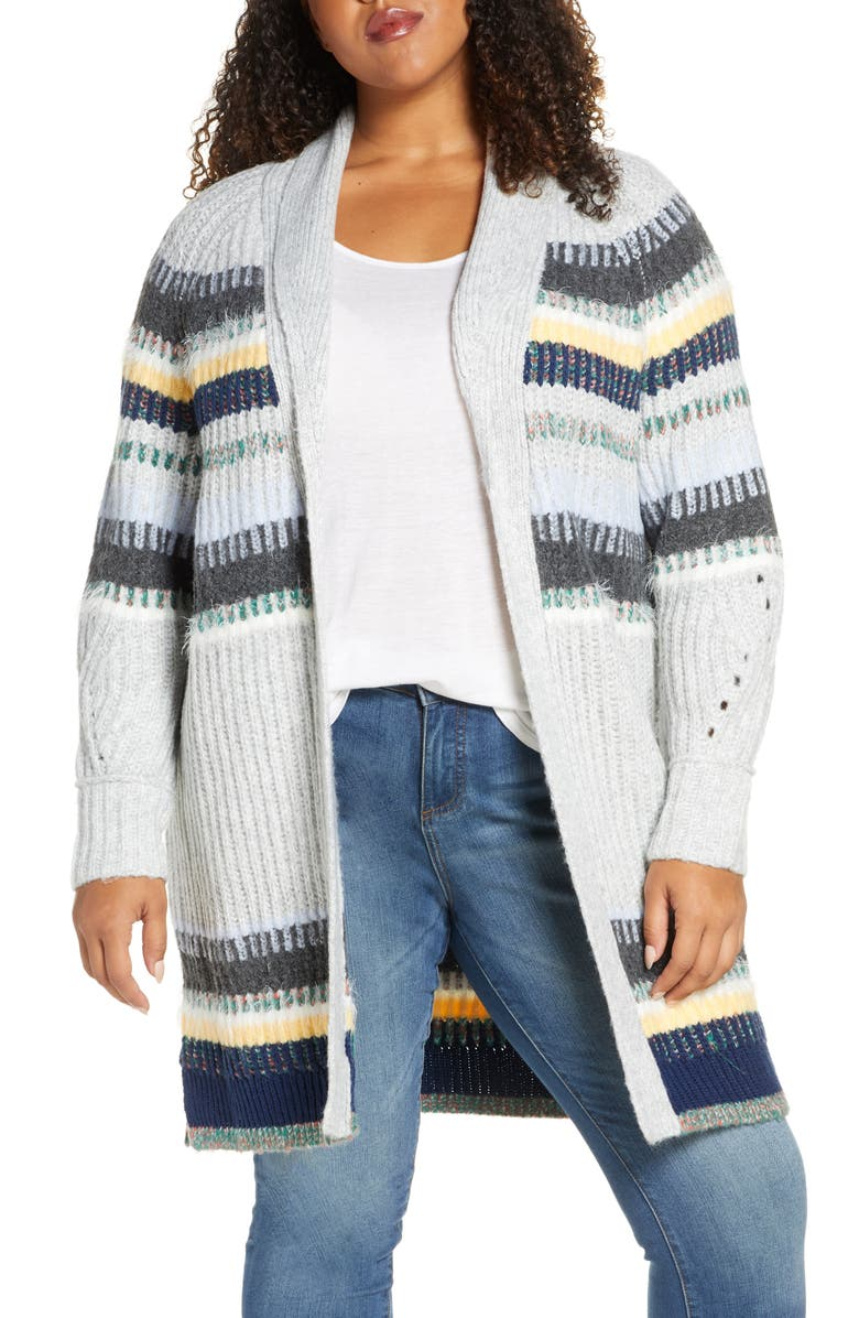CASLON<SUP>®</SUP> Staggered Stripe Cardigan, Main, color, 030