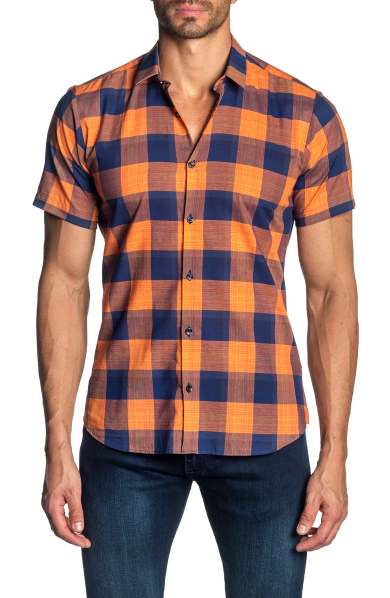 JARED LANG Trim Fit Check Cotton Sport Shirt, Main, color, 840
