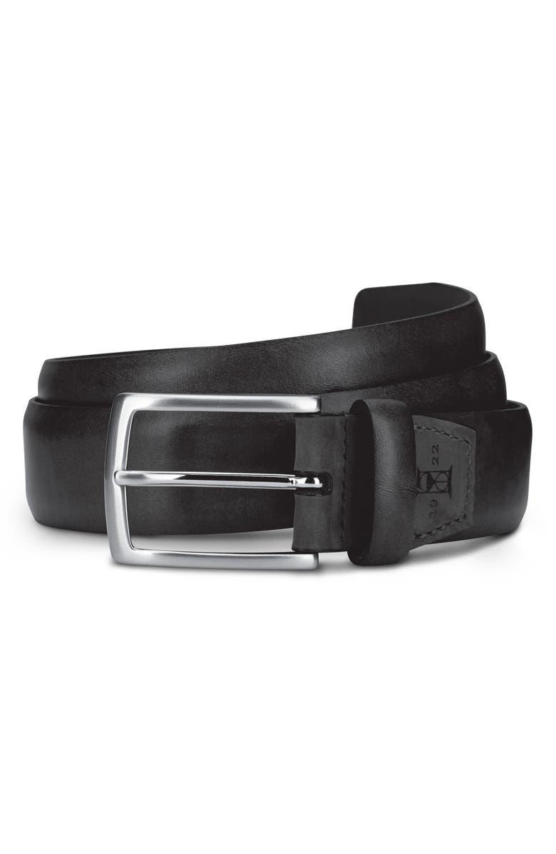 ALLEN EDMONDS Glass Avenue Leather Belt, Main, color, BLACK