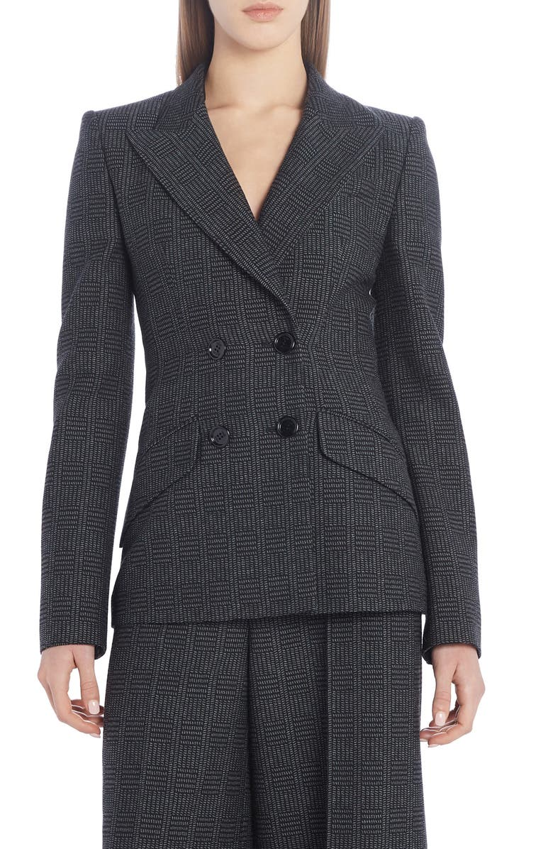 FENDI Double Breasted Check Wool Blazer, Main, color, DRUM