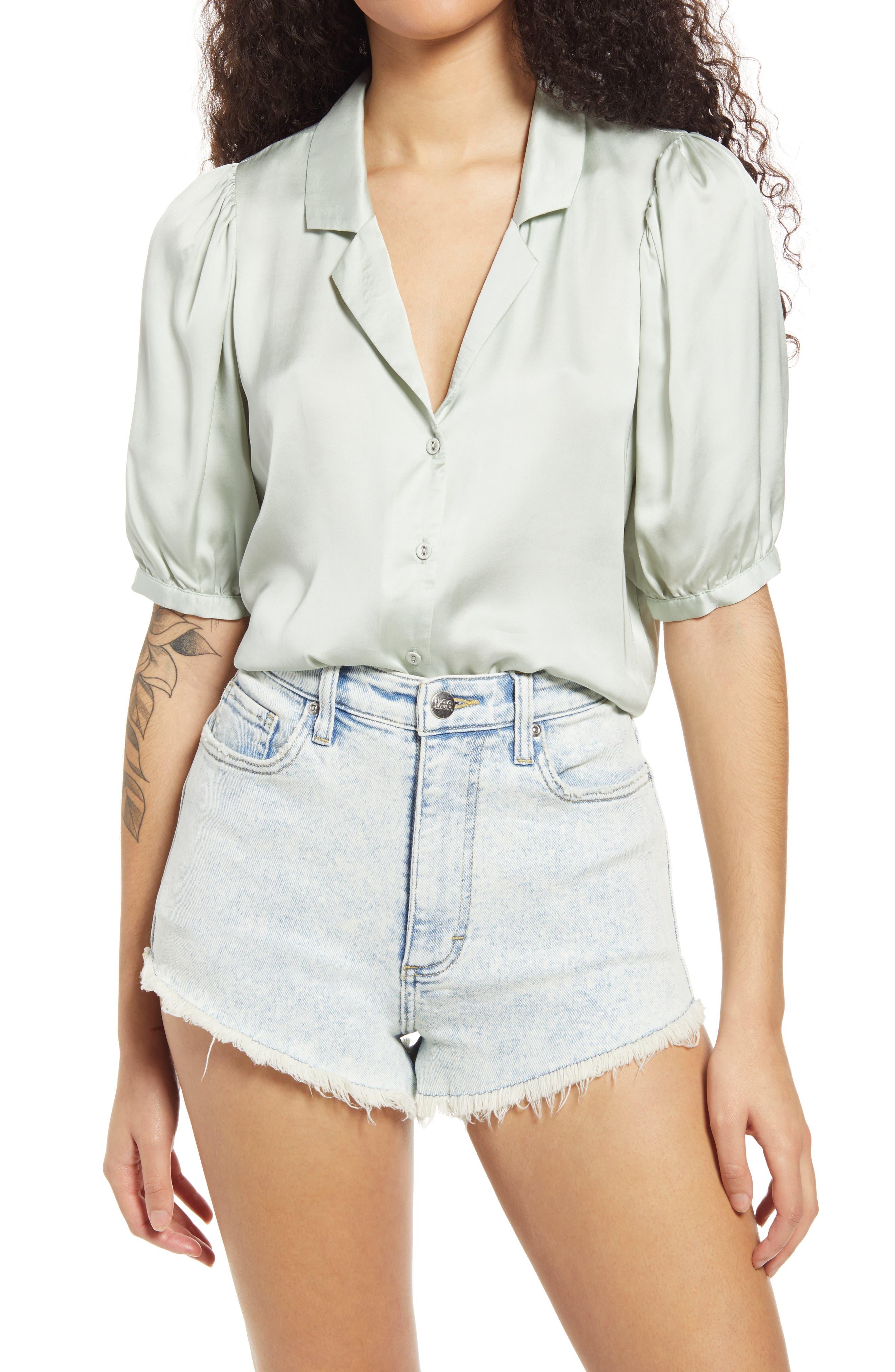 Sweet And Chic Silk Blend Satin Short Sleeve Button-Up Shirt