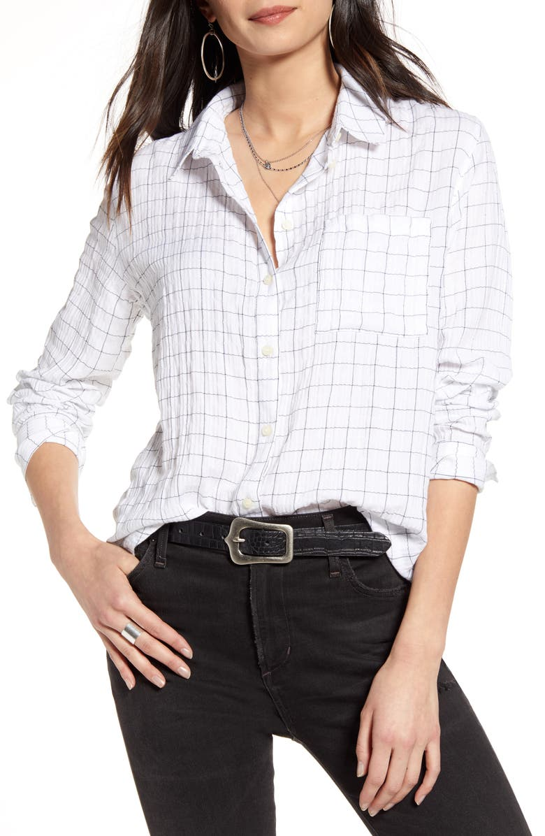 TREASURE & BOND Breezy Check Boyfriend Shirt, Main, color, WHITE- NAVY STRETCH CHECK