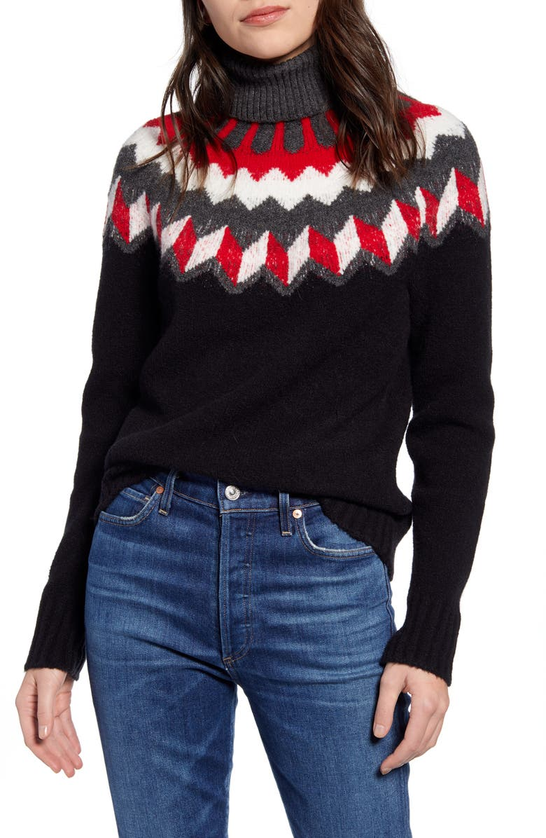 J.CREW Fair Isle Turtleneck Sweater in Supersoft Yarn, Main, color, 001