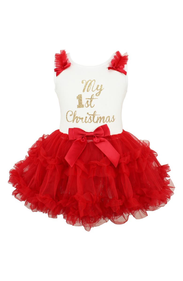 POPATU First Christmas Sparkle Pettidress, Main, color, RED
