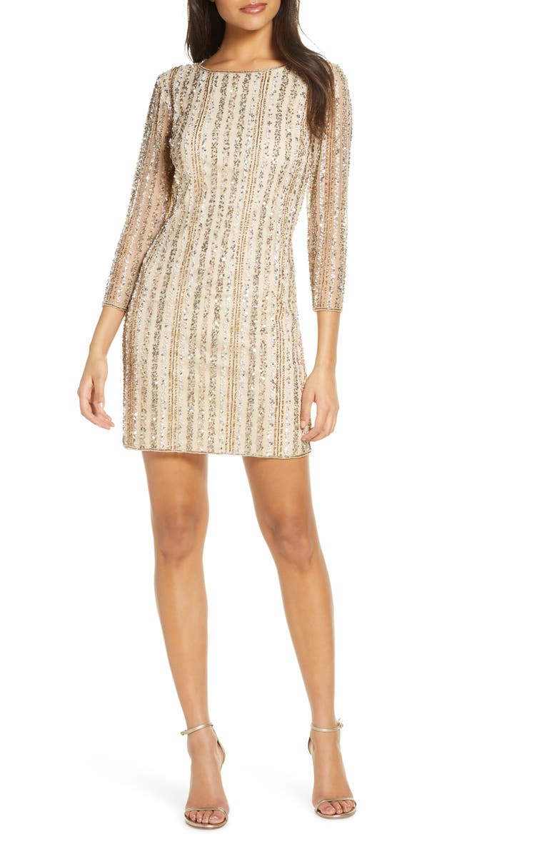 PISARRO NIGHTS Beaded Cocktail Dress, Main, color, CHAMPAGNE