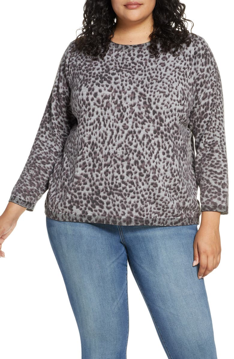 WIT & WISDOM Animal Print Back Button Sweater, Main, color, HEATHER GREY
