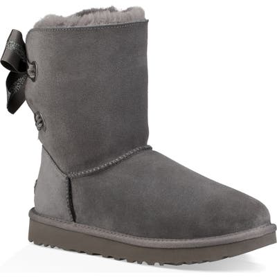 UGG Customizable Bailey Bow Genuine Shearling Bootie, Grey