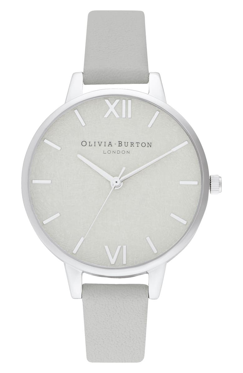 OLIVIA BURTON Woven Dial Leather Strap Watch, 34mm, Main, color, GREY/ SILVER