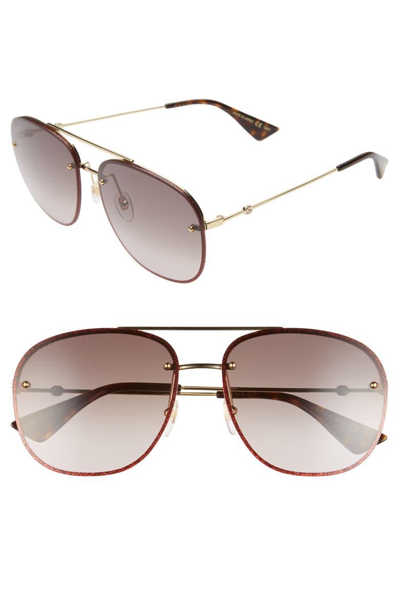 GUCCI 62mm Oversize Aviator Sunglasses, Main, color, GOLD