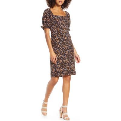 Chelsea 28 Leopard Print Square Neck Dress, Blue