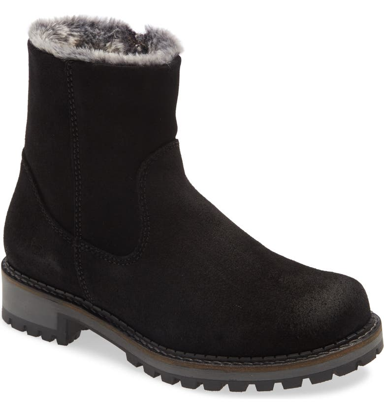 BOS. & CO. Calib Waterproof Bootie, Main, color, BLACK/ BLACK SUEDE