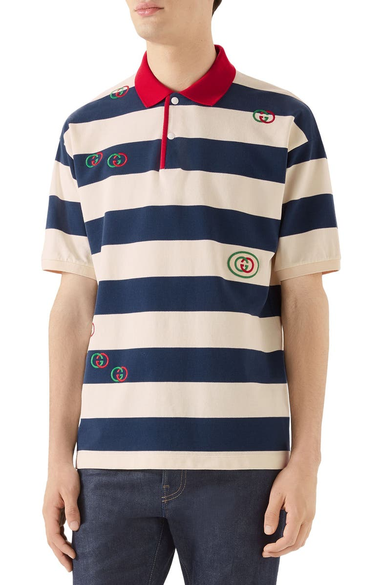 GUCCI Logo Embroidered Stripe Short Sleeve Piqué Polo, Main, color, INCHIOSTRO/ MILK/ MC