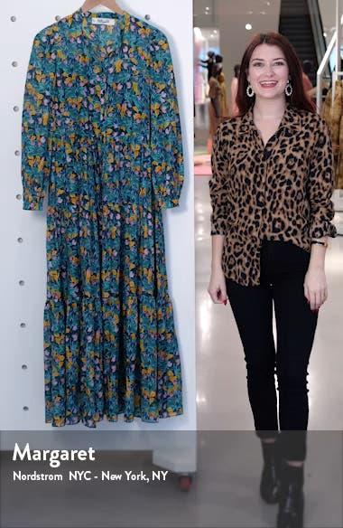 Nea Floral Long Sleeve Shirtdress, sales video thumbnail
