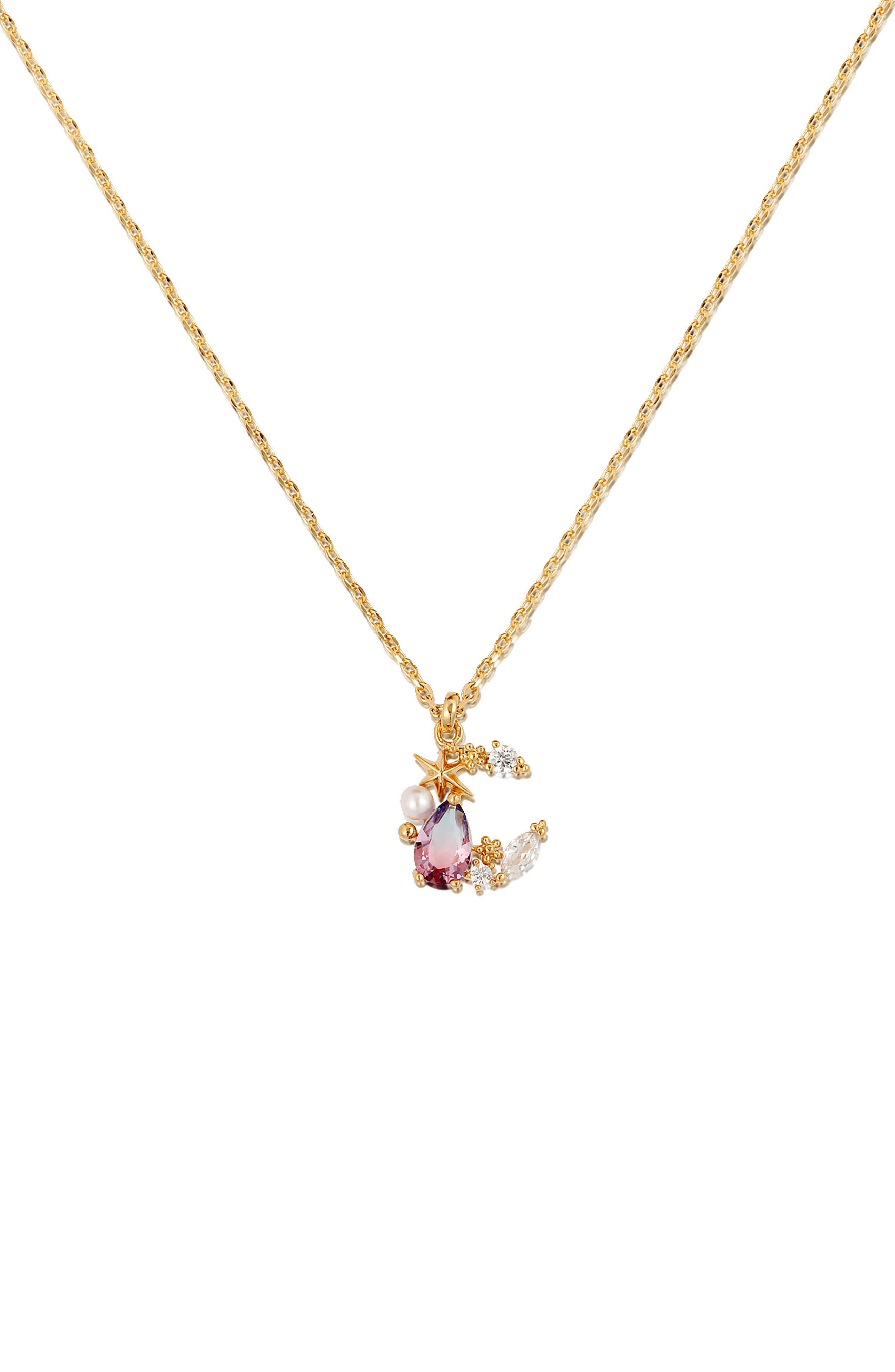 Aurora Moon Pendant Necklace