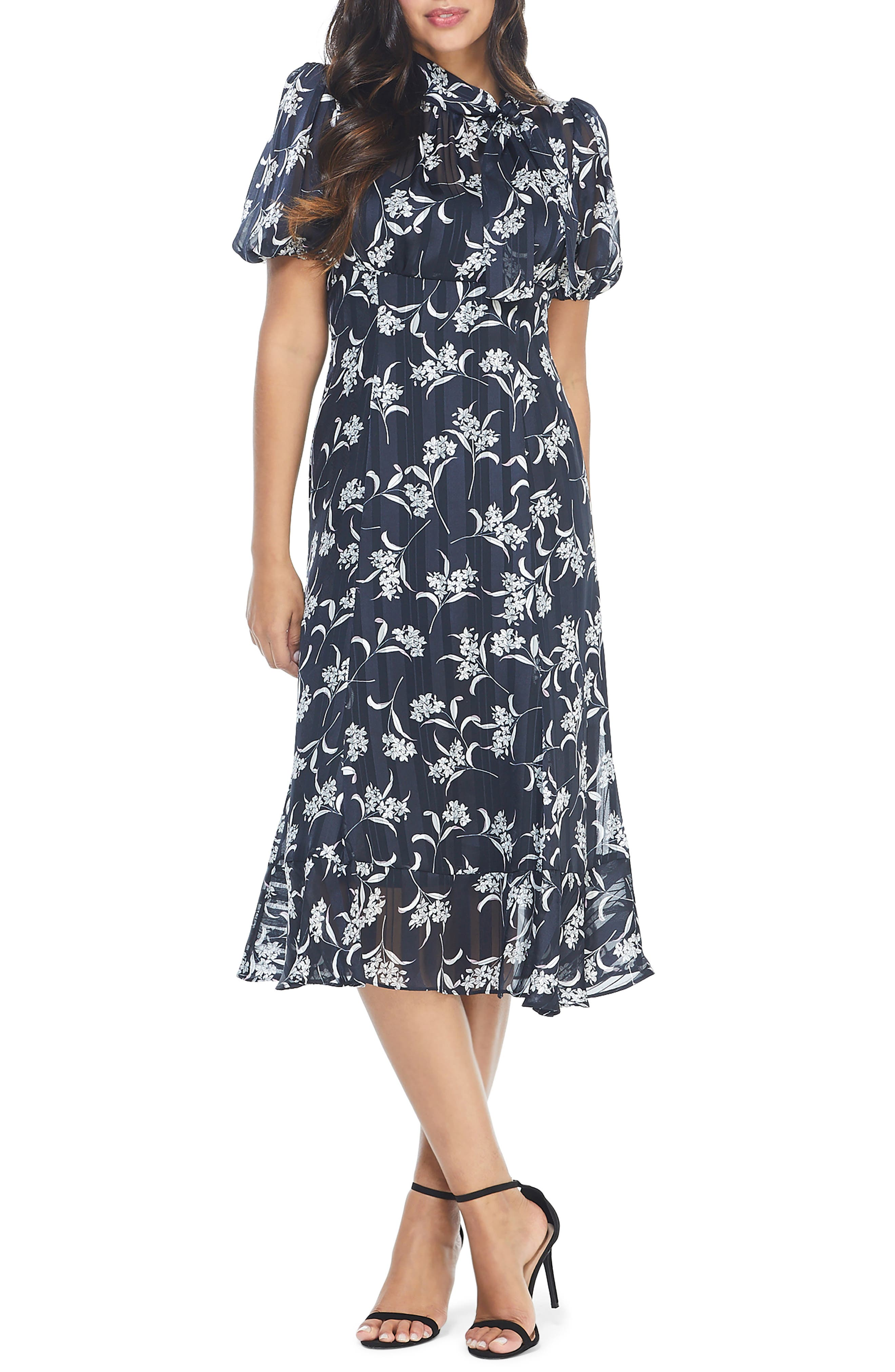 1930s Style Clothing and Fashion Womens Maggy London Adella Floral Satin Stripe Midi Dress Size 10 - Blue $94.80 AT vintagedancer.com