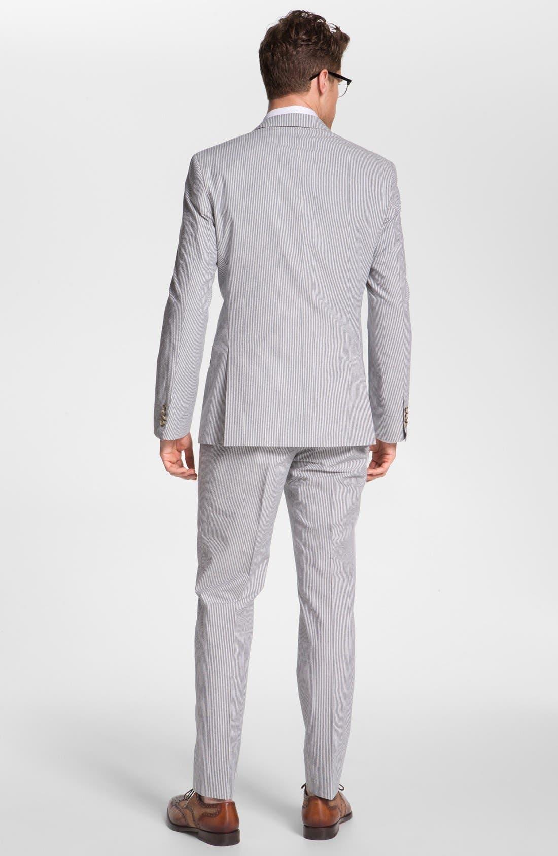 ,                             BOSS Black Seersucker Suit & Dress Shirt,                             Alternate thumbnail 4, color,                             460