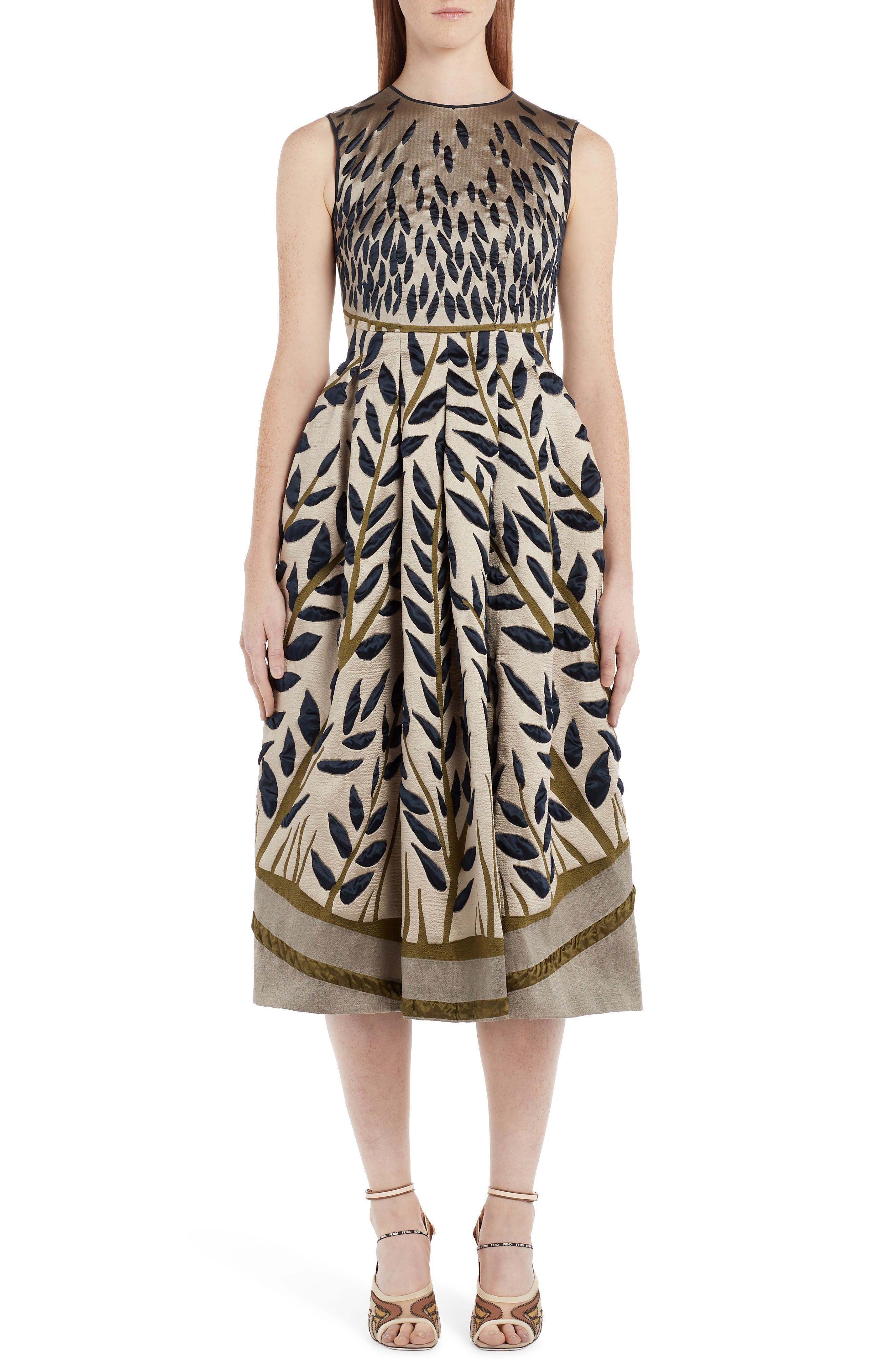 Fendi Jacquard Fit & Flare Dress, US / 40 IT - Metallic