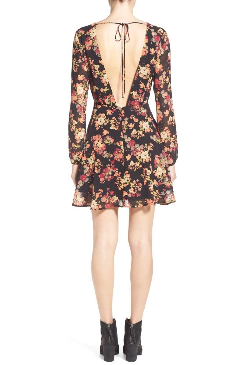 SUN & SHADOW Floral Print Open Back Dress, Main, color, 001