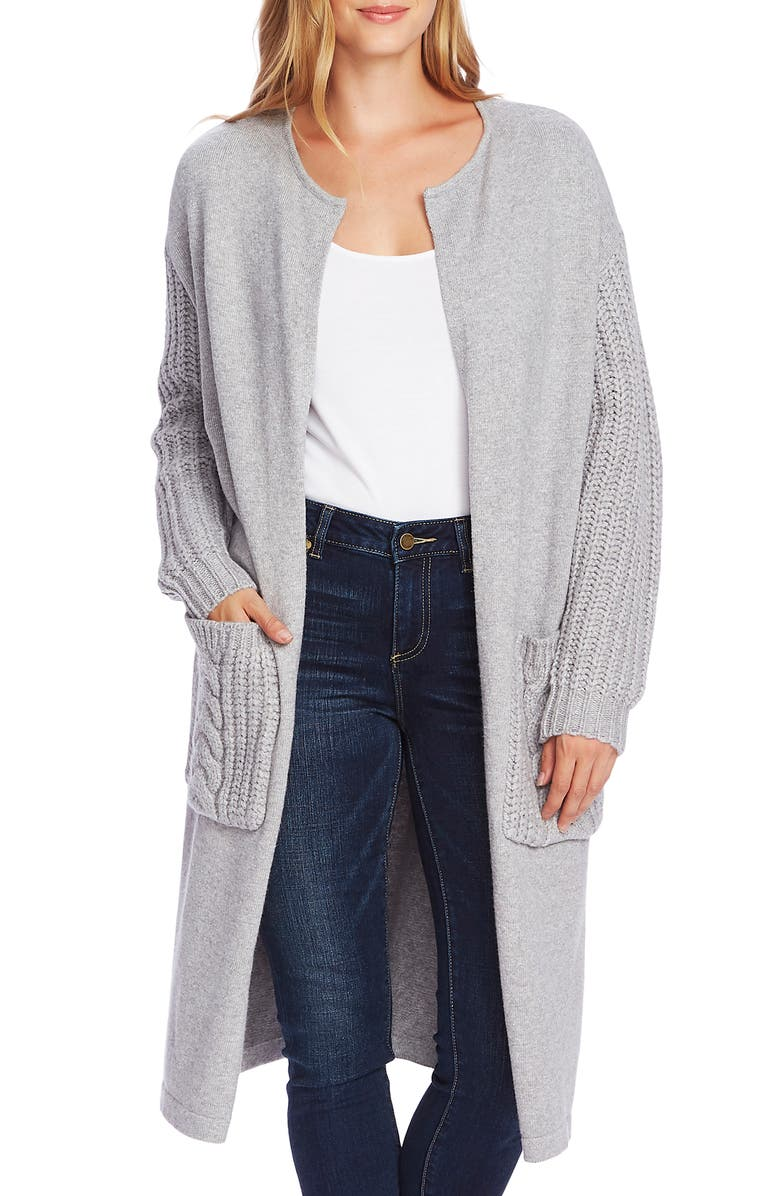 VINCE CAMUTO Cable Knit Detail Long Cardigan, Main, color, LIGHT HEATHER GREY