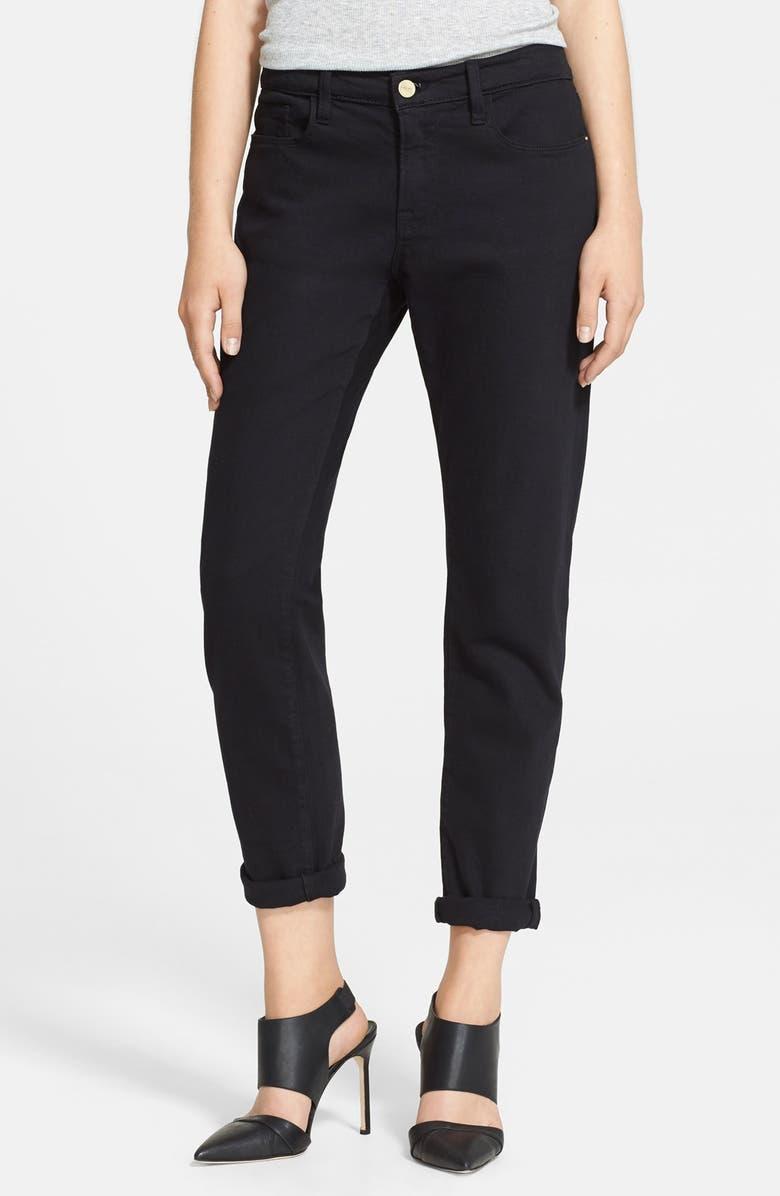 FRAME Denim 'Le Garcon' Boyfriend Jeans, Main, color, NOIR
