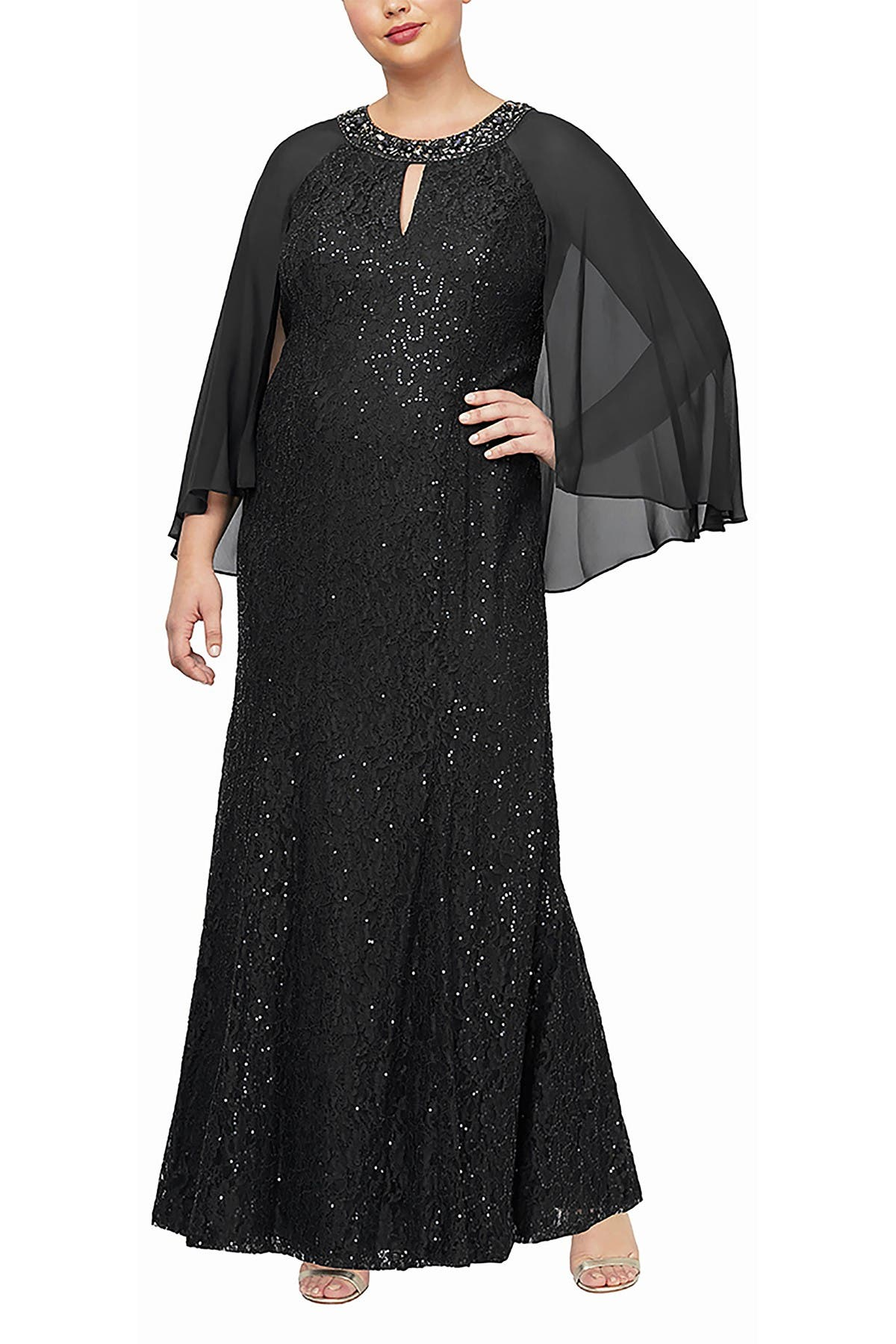 Image of SLNY Sequined Cape Overlay Dress