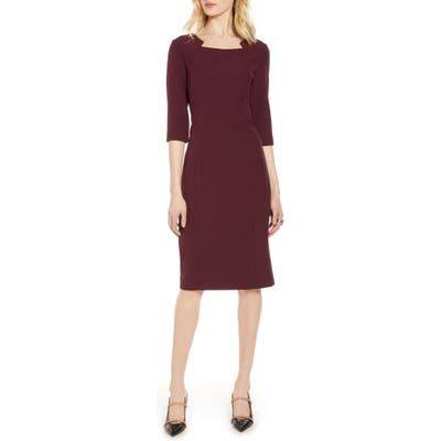 Halogen Stretch Crepe Sheath Dress, Burgundy